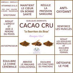 """Quelques bienfaits du Cacao Cru, """"la nourriture des Dieux""""   CACAO CRU Le Monde s'Eveille Grâce à Nous Tous ♥"""