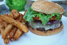 Firecracker Burger with Sour Cream and Chive Fries