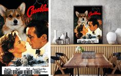 Items similar to Pembroke Welsh Corgi Art Casablanca Movie Poster Canvas Print Dog Lover Gifts by Nobility Dogs on Etsy Casablanca, Welsh, Vintage Posters, Corgi, Canvas Prints, Unique Jewelry, Handmade Gifts, Painting, Collection