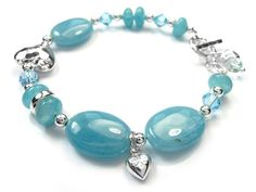 Gemstone Bracelet - Blue Sponge Quartz Sterling Silver Jewelry, Gemstone Jewelry, Bracelet Designs, Indigo, Swarovski Crystals, Quartz, Beaded Bracelets, Gemstones, Jewellery