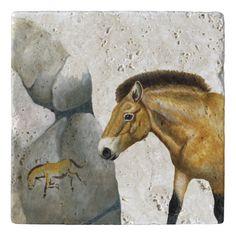 przewalski's horse natural stone trivet trivets