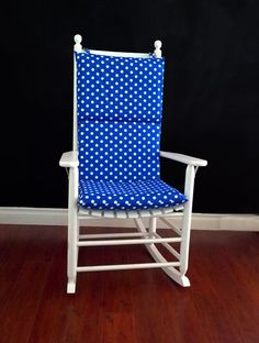 Rocking Chair Cushion Cover   Royal Blue White Polka DotNavy Blue Polka Dot Reversible Rocking Chair Pad   Chair cushion  . Royal Blue Outdoor Seat Cushions. Home Design Ideas