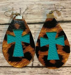 Jewelry OFF! Faux Leather Earrings Leopard Print With Teal Diy Leather Earrings, Diy Earrings, Handmade Leather Jewelry, Tiny Gold Hoop Earrings, Teardrop Earrings, Cowgirl Jewelry, Homemade Jewelry, How To Make Earrings, Fabric Jewelry