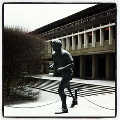 Standing tall amidst the winter weather. Terry Fox, former SFU student.
