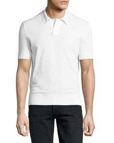 TOM FORD Waffle-Knit Short-Sleeve Pullover, White. #tomford #cloth #