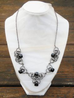 Rhinestone Necklace Black and Clear Rhinestone by GrevinaDesigns, $68.00