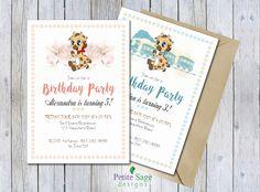 Giraffe Birthday Party Invitation, Printable Animal Cartoon Invitation, Baby Boy & Baby Girl Children Birthday, Kids Party Custom Invitation