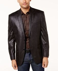 Marc New York by Andrew Marc Men's Slim-Fit Faux-Leather Sport Coat - Black 40S