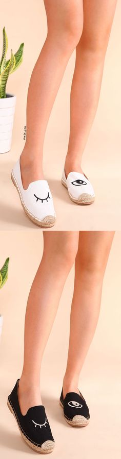 Blinking Eye Embroidered Espadrille Plimsolls