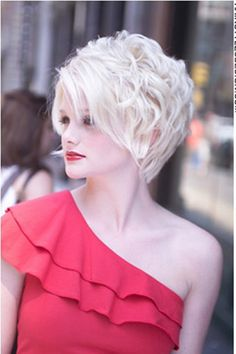 Blown out Wavy Bleached Blonde Bob