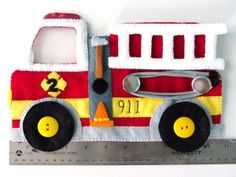 Felt Fire Station - Fire Truck & Dalmatian Pattern Pdf and Tutorial on Imagine Our Life at http://www.imagineourlife.com/2013/01/05/felt-fire-station-fire-truck-dalmatian/