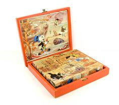 Vintage - Wood picture cubes in wood box - puzzle blocks - toy for children - Pinokkio - Walt Disney on Etsy, $54.95