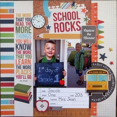 School Rocks - Scrapbook.com Used Simple Stories Smarty Pants Collection