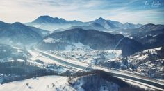 Aerial view towards the town of Lasko, Slovenia