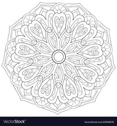 Adult coloring bookpage a zen mandala image for vector image on VectorStock Cool Coloring Pages, Mandala Coloring Pages, Adult Coloring Pages, Coloring Sheets, Coloring Books, Easy Drawings Sketches, Trippy Drawings, Mandala Art Lesson, Quilting Designs