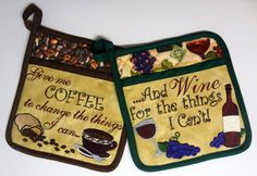 Set of 2 Embroidered Coffee and Wine by RenaeSignatureStitch