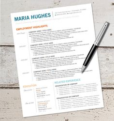 instant download resume design template microsoft word editable blue orange
