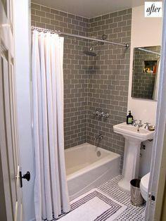 Really like the grey glass subway tile and the set up for this small bathroom Bathroom Floor Tiles, Bathroom Renos, Bathroom Ideas, White Bathroom, Boy Bathroom, Bath Tiles, Shower Bathroom, Room Tiles, Design Bathroom
