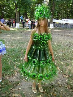 Dress made from plastic pop bottles