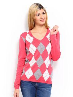 Buy Tommy Hilfiger Women Pink & Grey Melange Ivy Split Tonal Argyle Sweater - 368 - Apparel for Women from Tommy Hilfiger at Rs. 2999