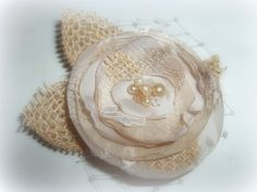 Bridal Fascinator Champagne silk lace french by kathyjohnson3, $36.00