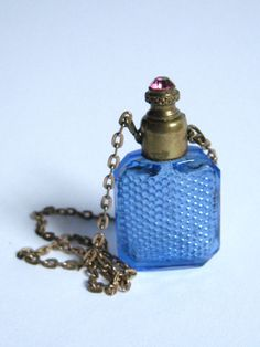 VICTORIAN 1800s JEWELED French Blue Honeycomb Glass CHATELAINE Scent Perfume Bottle Pink Rhinestone Brass Dauber Cap & Chain Downton Abbey by CovetedCastoffs on Etsy