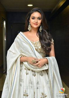 Cute Photos Of Actress Keerthi Suresh. Heroine Keerthi Suresh spotted at the movie promotions event in designer dress. Keerthi looks sweet at the event Bollywood Actress Bikini Photos, Tamil Actress Photos, South Indian Actress, South Actress, Most Beautiful Indian Actress, Beauty Full Girl, Indian Beauty Saree, Saree Styles, Indian Designer Wear