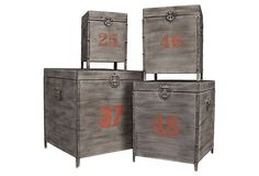 Set of 4 Footed Metal Trunks