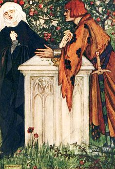 """""""Guenevere! Guenevere! Do you not know me … Illustration by Florence Harrison from """"Early poems of William Morris"""" (1914)"""