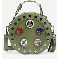 Green Metal Charm Studded Round Bag (1.275 RUB) ❤ liked on Polyvore featuring bags, handbags, shoulder bags, green, vintage handbags, round purse, vintage purses, studded shoulder bag and studded handbags