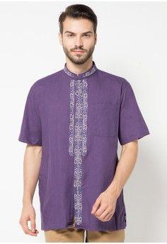 Pria > Baju Muslim > Baju Koko > Baju Muslim Atlas Universal Lengan Pendek Bordir Triple > Atlas