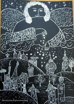 Art For Kids, Crafts For Kids, Angel Kids, Acrylic Painting Inspiration, Scratch Art, Winter Project, Winter Pictures, Angel Art, Art Challenge