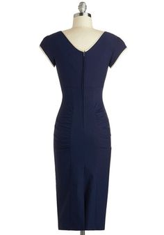 Oh.My.Gosh - WANT WANT WANT!!!  Sheath a Lady Dress in Navy, #ModCloth