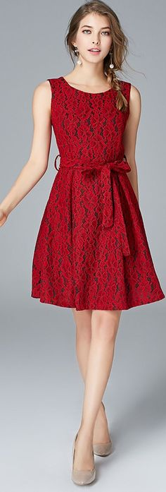 Red Sleeveless Lace Dress with Sash. Only Fashion, Womens Fashion For Work, Women's Fashion, Street Chic, Street Style, Street Fashion, Modest Fashion, Fashion Dresses, Lace Outfit