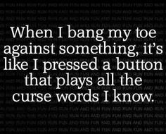This is me! Same applies to hurting myself on anything!