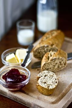 Toasted Brown Wholegrain Granary Baguette With Sugar-Free Strawberry Jam & Butter