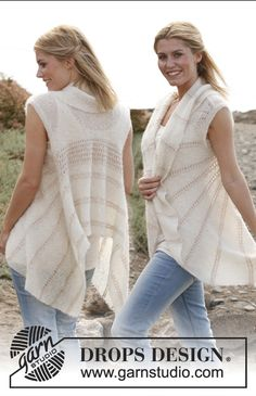 "Knitted DROPS vest in garter st in ""Vivaldi"" with lace pattern in ""Cotton Viscose"". Size: S - XXXL ~ DROPS Design"