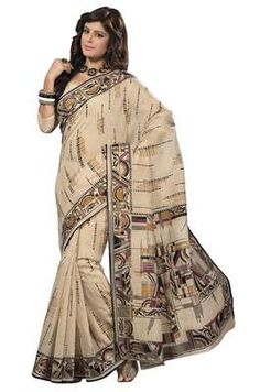 Beautiful Beige Colored Printed Cotton Saree Cotton Sarees on Shimply.com