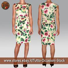 58299210f5e23 Abito Donna Tubino corto smanicato cerimonia elegante sera a fiori