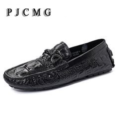 >> Click to Buy << PJCMG Spring/Autumn Black/Red Slip-On Crocodile Style Casual Men Genuine Leather Moccasins Loafers Men Flats Driving Shoes #Affiliate