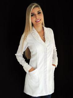 Jaleco Feminino Acinturado Gabardine Com Renda Guipir - 01GUIR_1