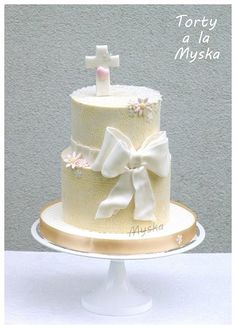 cake for baptism with bow