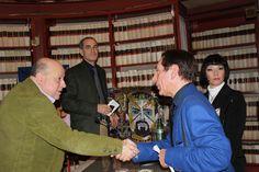 Roberto Mattioli con l'attore Domenico Fumato e l'attore ed assessore alle politiche culturali del comune di Tivoli Urbano Barberini