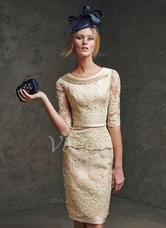 Abendkleider - $142.08 - Etui-Linie V-Ausschnitt Cowl Neck Knielang Satin Spitze Abendkleid (0175059103)