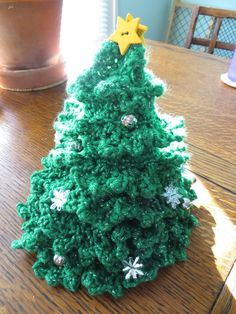 Ravelry: Christmas Tree pattern by Helen Free Crochet Christmas Trees, Christmas Tree Pattern, Christmas Crochet Patterns, Christmas Ornament Crafts, Xmas Tree, Crochet Poppy Free Pattern, Fairy Garden Accessories, Ravelry, Petra