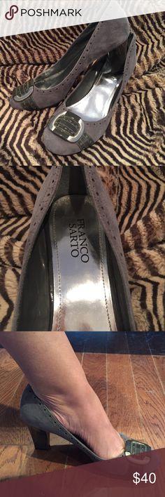 """Franco Sarto business suede heels. Franco Sarto business gray suede heels. A little less than 3"""" hell. Very cute. Franco Sarto Shoes Heels"""