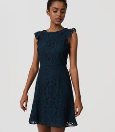 Primary Image of Petite Lace Flutter Dress