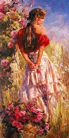 Michael and Inessa Garmash Fine Art Cherished Roses Woman Painting, Painting & Drawing, Images D'art, Fine Art, Beautiful Paintings, Painting Inspiration, Oeuvre D'art, Female Art, Art Pictures
