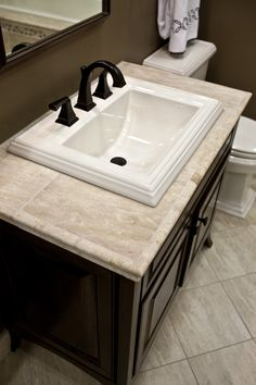 Consider Building Up Base Of Vanity Countertop With Plywood And Kerdi/hardi  Backer Then Using The Travertine As The Countertop With Travertine Molding  Edge