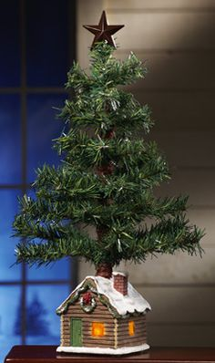 Northwoods Tabletop Holiday Tree with Log Cabin Base $8.97